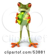 Royalty Free RF Clipart Illustration Of A Cute 3d Green Tree Frog Holding The Planet Pose 4 by Julos