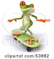Royalty Free RF Clipart Illustration Of A Cute 3d Green Tree Skater Frog Skateboarding Pose 2 by Julos