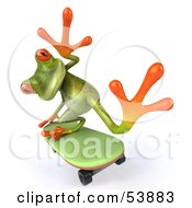 Royalty Free RF Clipart Illustration Of A Cute 3d Green Tree Skater Frog Skateboarding Pose 5 by Julos