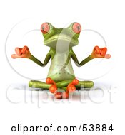 Cute 3d Green Tree Frog Meditating - Pose 1