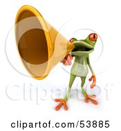 Royalty Free RF Clipart Illustration Of A Cute 3d Green Tree Frog Speaking Through A Megaphone Pose 4 by Julos