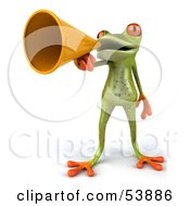 Royalty Free RF Clipart Illustration Of A Cute 3d Green Tree Frog Speaking Through A Megaphone Pose 1