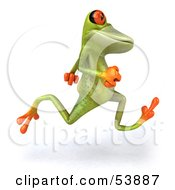 Royalty Free RF Clipart Illustration Of A Cute 3d Green Tree Frog Running Right