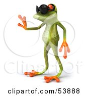 Royalty Free RF Clipart Illustration Of A Cute 3d Green Tree Frog Waving And Wearing Shades Pose 1