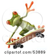 Royalty Free RF Clipart Illustration Of A Cute 3d Green Tree Skater Frog Skateboarding Pose 4 by Julos