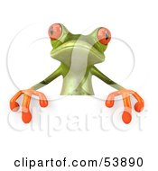 Royalty Free RF Clipart Illustration Of A Cute 3d Green Tree Frog Presenting A Sign by Julos