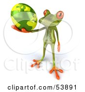 Royalty Free RF Clipart Illustration Of A Cute 3d Green Tree Frog Holding The Planet Pose 7 by Julos