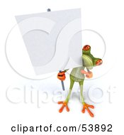 Cute 3d Green Tree Frog Holding A Sign On A Post Pose 2 by Julos
