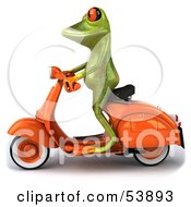 Royalty Free RF Clipart Illustration Of A Cute 3d Green Tree Frog Riding An Orange Scooter To The Left