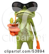 Cute 3d Green Tree Frog Sipping A Drink And Wearing Shades - Pose 2