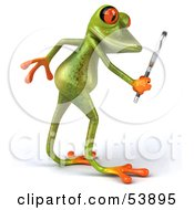Royalty Free RF Clipart Illustration Of A Cute 3d Green Tree Frog Using A Magnifying Glass Pose 2 by Julos