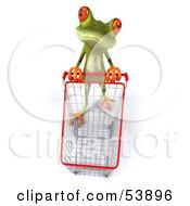 Royalty Free RF Clipart Illustration Of A Cute 3d Green Tree Frog Shopping And Pushing A Cart Pose 2 by Julos