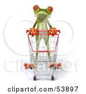 Royalty Free RF Clipart Illustration Of A Cute 3d Green Tree Frog Shopping And Pushing A Cart Pose 1 by Julos