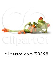 Cute 3d Green Tree Frog Relaxed And Reclined