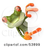 Royalty Free RF Clipart Illustration Of A Cute 3d Green Tree Frog Looking Around And Pointing To A Blank Sign by Julos #COLLC53899-0108