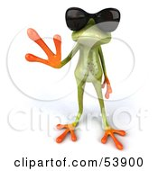 Royalty Free RF Clipart Illustration Of A Cute 3d Green Tree Frog Waving And Wearing Shades Pose 3