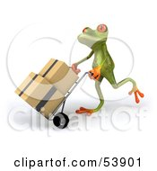 Royalty Free RF Clipart Illustration Of A Cute 3d Green Tree Frog Rolling Packages On A Hand Truck Pose 1 by Julos