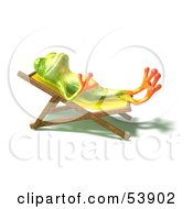 Cute 3d Green Tree Frog Sun Bathing Pose 1 by Julos