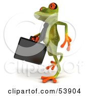 Royalty Free RF Clipart Illustration Of A Cute 3d Green Tree Frog Business Man Carrying A Briefcase Pose 3 by Julos