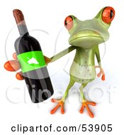 Royalty Free RF Clipart Illustration Of A Cute 3d Green Tree Frog Holding A Bottle Of Wine Pose 3