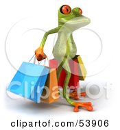 Royalty Free RF Clipart Illustration Of A Cute 3d Green Tree Frog Carrying Shopping Bags Pose 2 by Julos