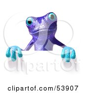 Royalty Free RF Clipart Illustration Of A Cute 3d Purple Tree Frog Waving And Holding A Sign