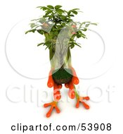 Royalty Free RF Clipart Illustration Of A Cute 3d Green Tree Frog Holding A Plant Pose 4