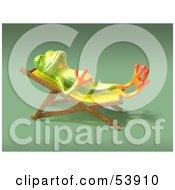 Cute 3d Green Tree Frog Sun Bathing Pose 4 by Julos