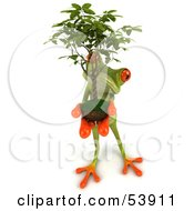 Royalty Free RF Clipart Illustration Of A Cute 3d Green Tree Frog Holding A Plant Pose 5 by Julos