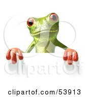 Royalty Free RF Clipart Illustration Of A Cute 3d Green Tree Frog Standing Behind And Holding Up A Blank Sign