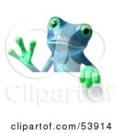 Royalty Free RF Clipart Illustration Of A Cute 3d Blue Tree Frog Waving And Holding A Sign