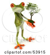 Royalty Free RF Clipart Illustration Of A Cute 3d Green Tree Frog Holding A Plant Pose 1 by Julos