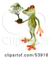 Royalty Free RF Clipart Illustration Of A Cute 3d Green Tree Frog Holding A Plant Pose 3 by Julos