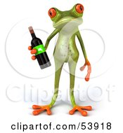 Royalty Free RF Clipart Illustration Of A Cute 3d Green Tree Frog Holding A Bottle Of Wine Pose 1 by Julos