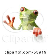 Cute 3d Green Tree Frog Waving And Holding A Sign by Julos