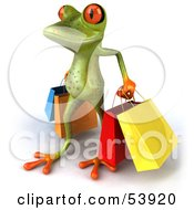 Royalty Free RF Clipart Illustration Of A Cute 3d Green Tree Frog Carrying Shopping Bags Pose 3 by Julos