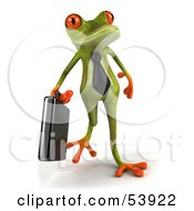 Royalty Free RF Clipart Illustration Of A Cute 3d Green Tree Frog Business Man Carrying A Briefcase Pose 2 by Julos