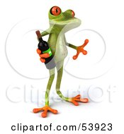 Royalty Free RF Clipart Illustration Of A Cute 3d Green Tree Frog Holding A Bottle Of Wine Pose 2 by Julos