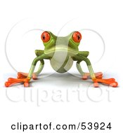 Royalty Free RF Clipart Illustration Of A Cute 3d Green Tree Frog Resting On All Fours And Facing Front