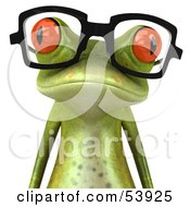 Royalty Free RF Clipart Illustration Of A Cute 3d Green Tree Frog Wearing Spectacles Version 4