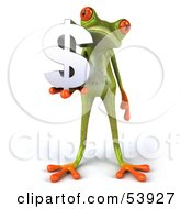 Royalty Free RF Clipart Illustration Of A Cute 3d Green Tree Frog Holding A Silver Dollar Symbol Pose 1