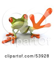 Royalty Free RF Clipart Illustration Of A Cute 3d Green Tree Frog Reaching Pose 1 by Julos #COLLC53928-0108