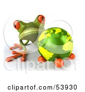 Royalty Free RF Clipart Illustration Of A Cute 3d Green Tree Frog Holding The Planet Pose 1
