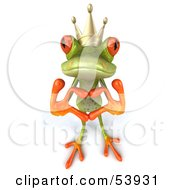 Royalty Free RF Clipart Illustration Of A Cute 3d Green Tree Frog Prince Making A Heart With His Fingers Pose 1