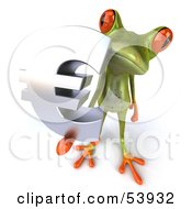 Royalty Free RF Clipart Illustration Of A Cute 3d Green Tree Frog Holding A Silver Euro Symbol Pose 3