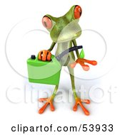 Royalty Free RF Clipart Illustration Of A Cute 3d Green Tree Frog Holding A Gas Can Of Bio Fuel Pose 1