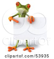 Cute 3d Green Tree Frog Standing Behind A Blank Sign And Pointing To It