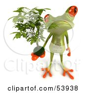 Royalty Free RF Clipart Illustration Of A Cute 3d Green Tree Frog Holding A Plant Pose 2