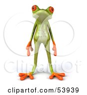 Cute 3d Skinny Green Tree Frog Standing And Facing Front
