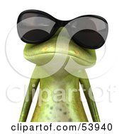 Cute 3d Green Tree Frog Wearing Shades - Pose 1